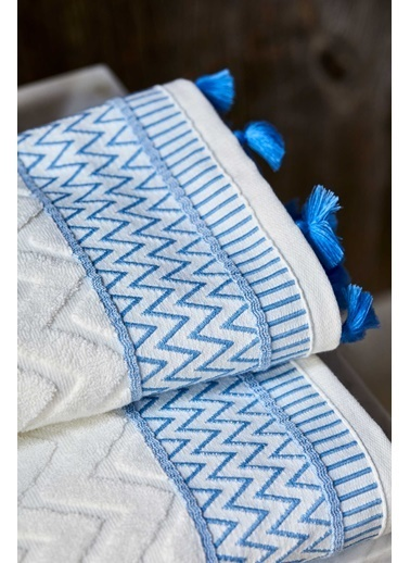 Bella Maison %100 Pamuk Karma Mavi Yüz Havlusu (50x90 cm) Mavi